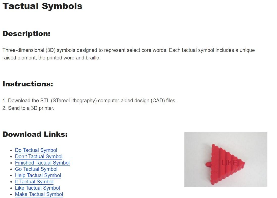 Core Vocabulary With Tangible Symbols Communication Matrix